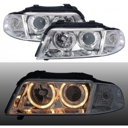 Front headlights chrome angel eyes for Audi A4