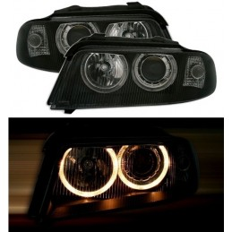 Front headlights angel eyes for Audi A4 black