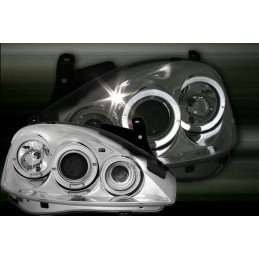 Front headlights angel eyes for Opel Corsa C chrome