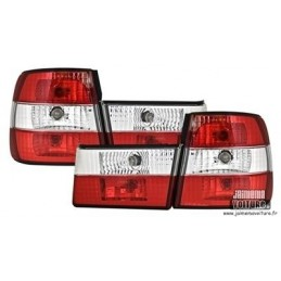 BMW E34 Crystal Red White rear lights