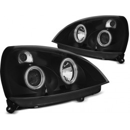 Headlights Angel eyes CCFL for Renault Clio 2 black fronts