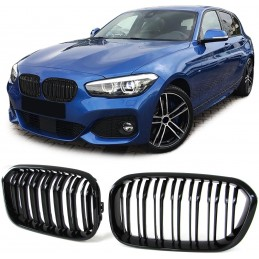 Pair of black-look M patent grilles for BMW Series 1 F20 F21 LCI